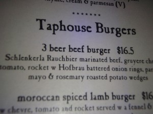 taphouse burgers