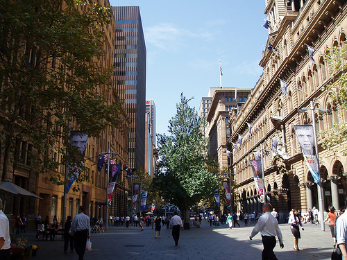 sydney city at walking level