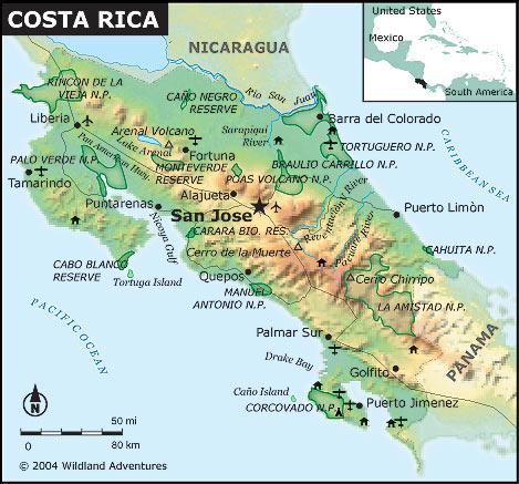 Mapa Do Pais Costa Rica