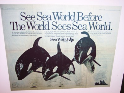 SeaWorld San Antonio vintage ad poster from 1988 (Scarborough photo)
