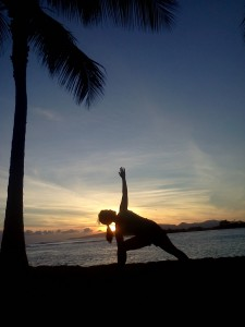 sunset yoga on the beach in honolulu